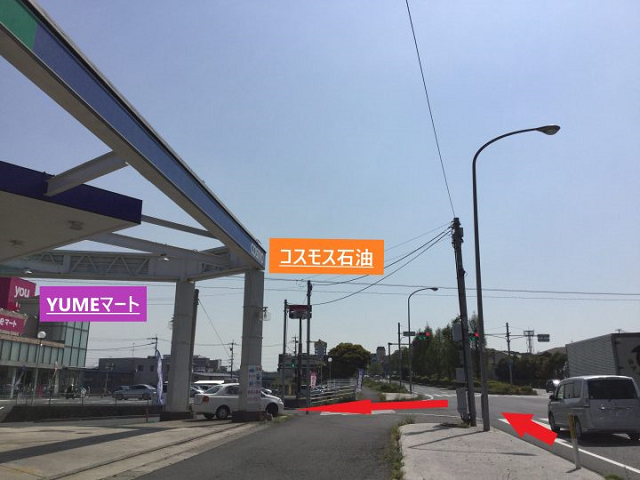 小倉南区朽網小学校入口の交差点接近